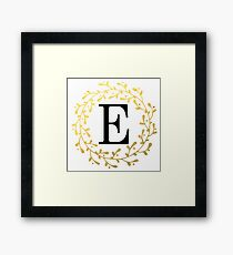 Monogram Letter E | Personalised | Black and Gold Design Framed Print