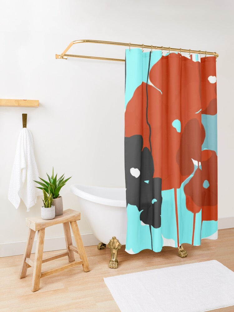 Alternate view of Poppies Shower Curtain