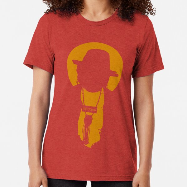 Badass Red Neil Young print Tri-blend T-Shirt