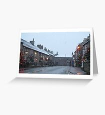 christmas in castleton derbyshire peak district in the snow  Greeting Card