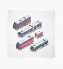 Isometric City Transportation Bus Set Scarf