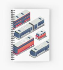 Isometric City Transportation Bus Set Spiral Notebook