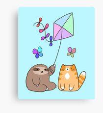 Pastel Rainbow Kite Sloth and Cat Canvas Print