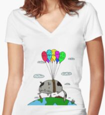 Kitty Fly Women's Fitted V-Neck T-Shirt