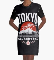 Tokyo - 'I don't speak Japanese': White Version Graphic T-Shirt Dress
