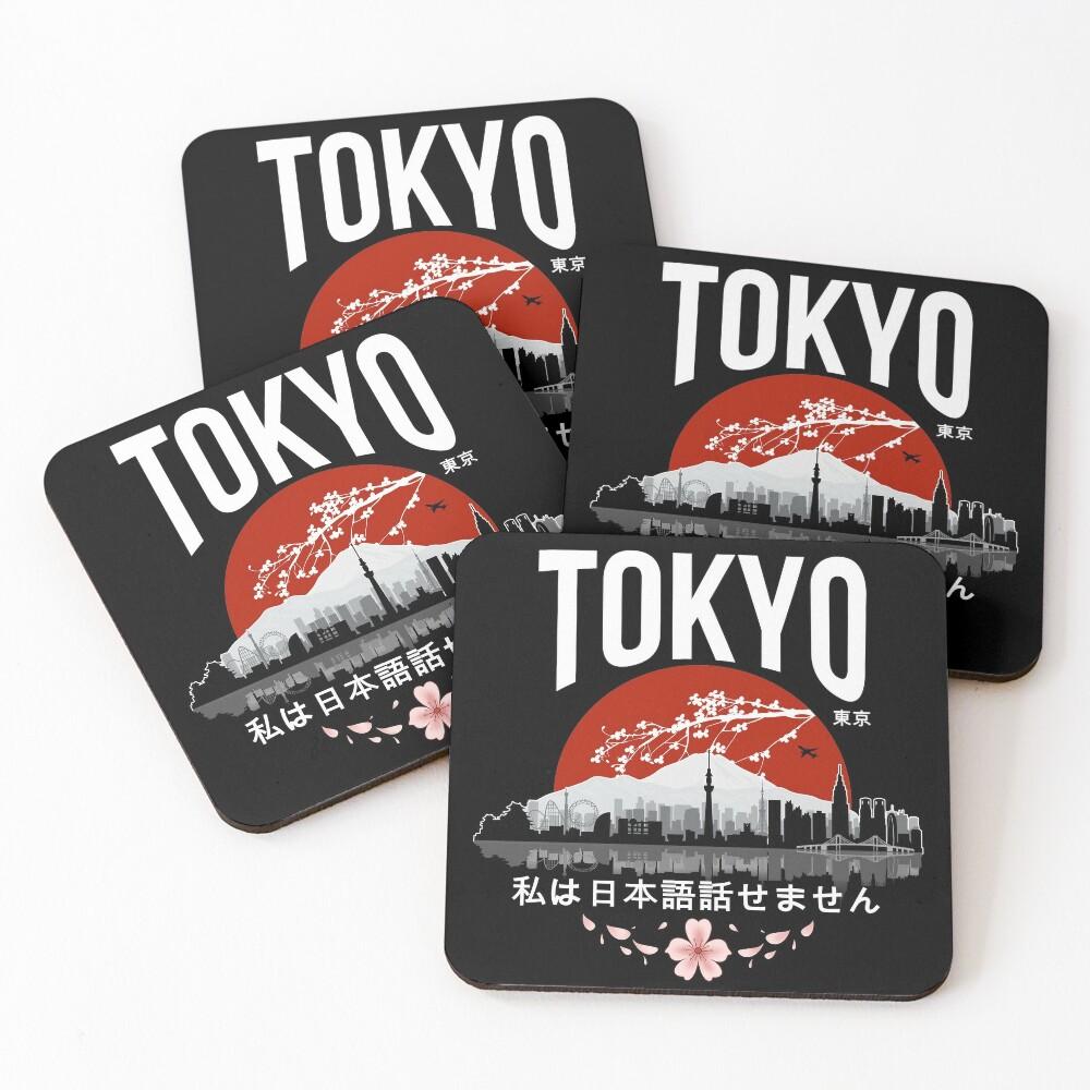 Tokyo - 'I don't speak Japanese': White Version Coasters (Set of 4)