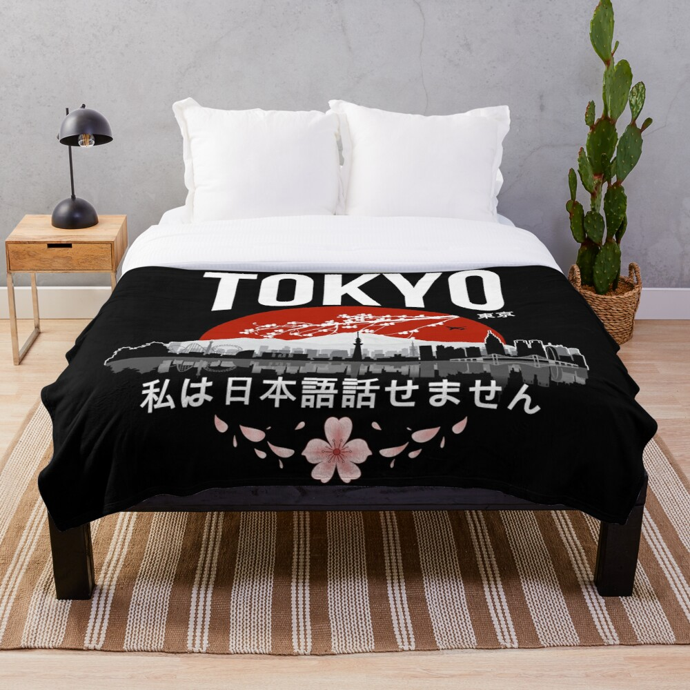 Tokyo - 'I don't speak Japanese': White Version Throw Blanket