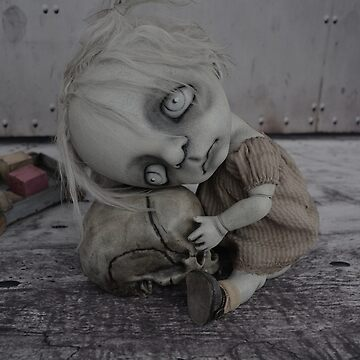 Creepy Little Girl with a Skull Gothic BJD Art Doll  by darkalleydolls