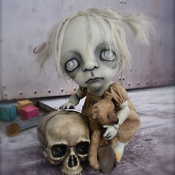 Creepy Little Girl Doll with a Skull. Gothic Artist Doll. by darkalleydolls