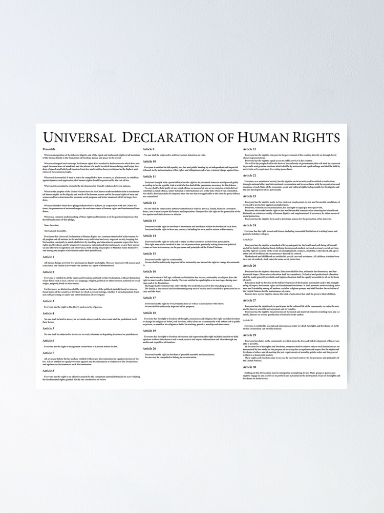 Alternate view of Universal Declaration of Human Rights Poster