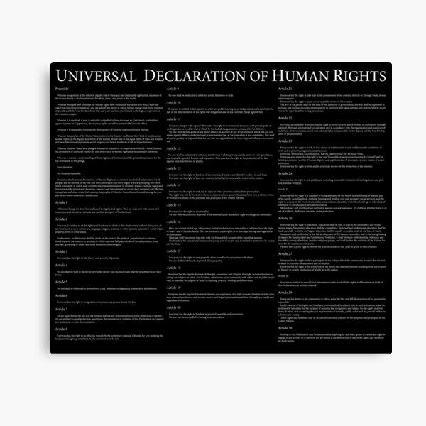 Universal Declaration of Human Rights Black Background Leinwanddruck