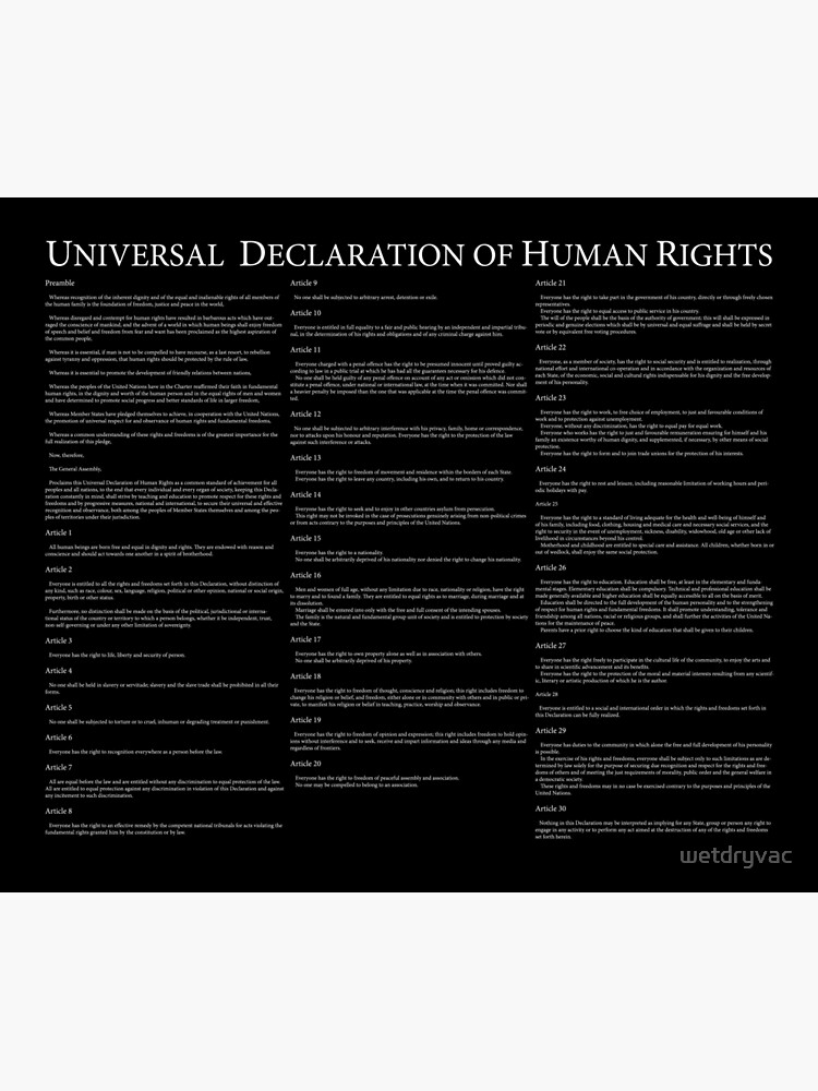Universal Declaration of Human Rights Black Background by wetdryvac