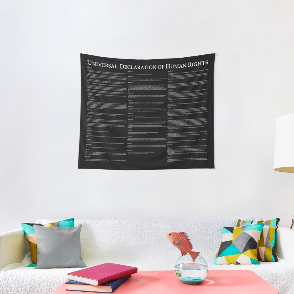 Universal Declaration of Human Rights Black Background Tapestry