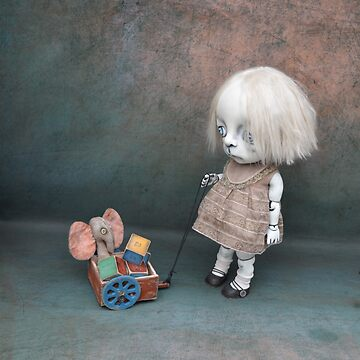 Creepy Little Girl with a Toy Wagon Gothic Artist Doll by darkalleydolls
