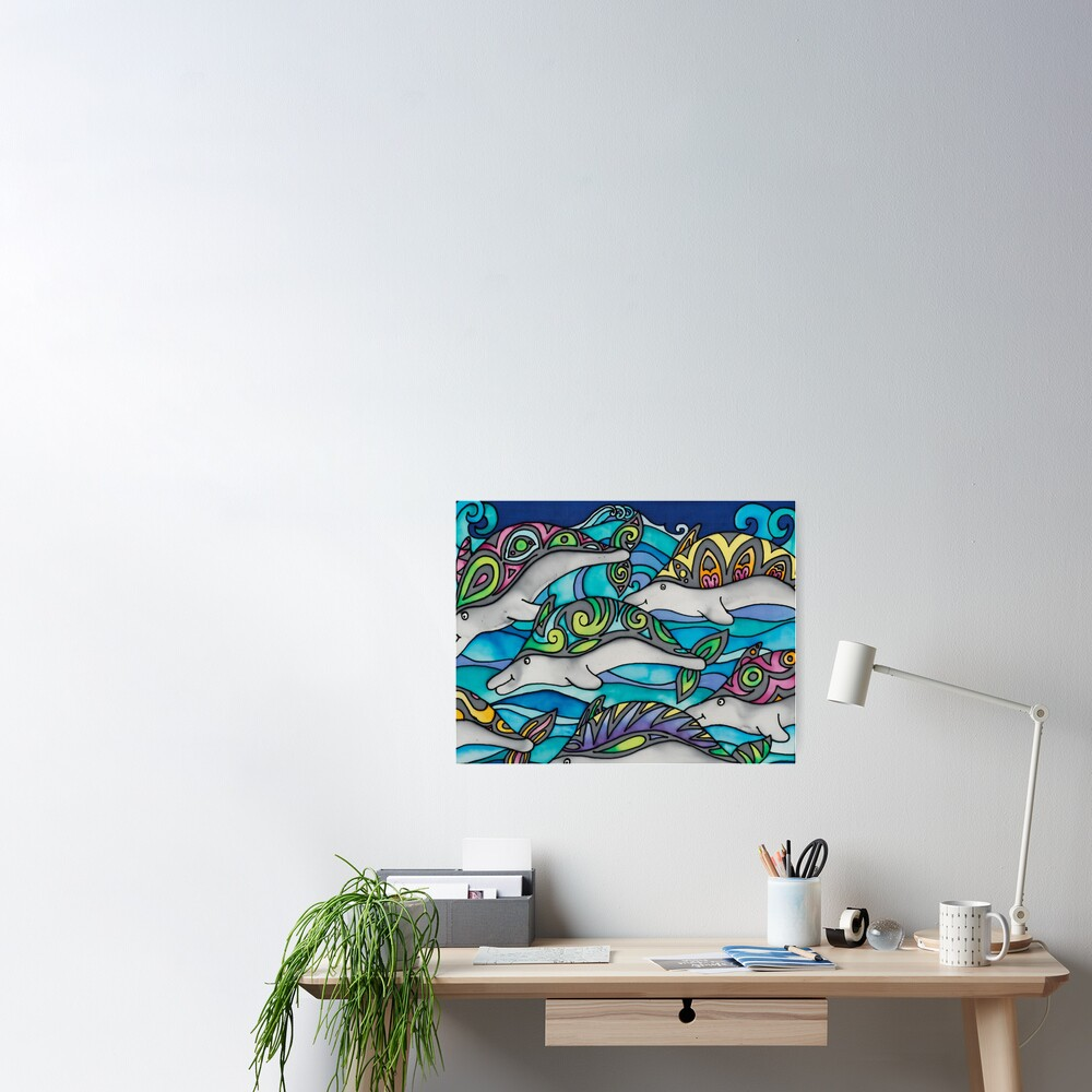 Hippie Dolphins Poster