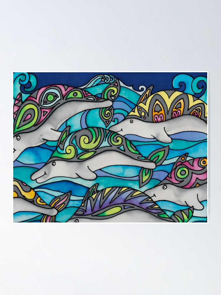 Alternate view of Hippie Dolphins Poster