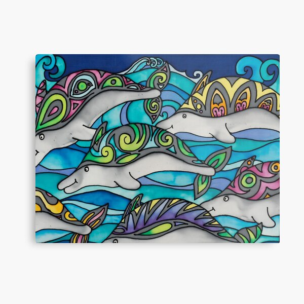 Hippie Dolphins Metal Print