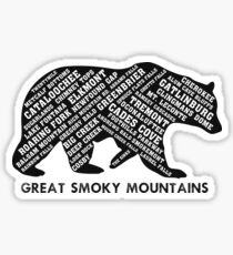 Great Smoky Mountains Place Names Sticker