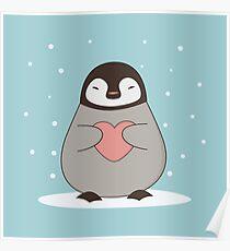 Kawaii Cute Winter Penguin  Poster