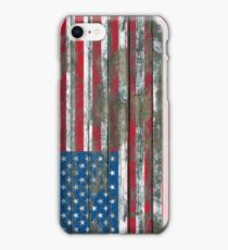 Flag of United States on Rough Wood Boards Effect iPhone Case/Skin