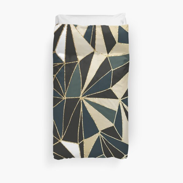 New Art Deco Geometry - Emerald Green & Gold Duvet Cover