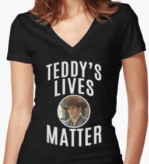 WESTWORLD - TV SHOW - TEDDY - TEDDY'S LIVES MATTER Women's Fitted V-Neck T-Shirt
