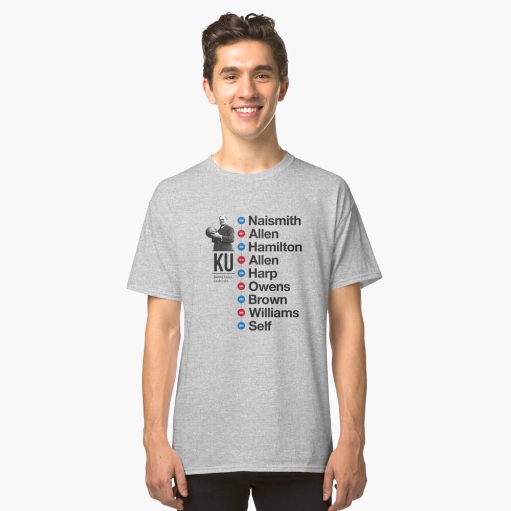 History of KU Basketball Coaches Classic T-Shirt Front
