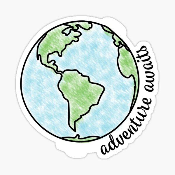 Adventure Awaits Globe  Sticker