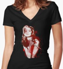 Splatter Buffy Women's Fitted V-Neck T-Shirt