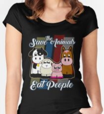 Save The Animals Eat People Funny Vegan Shirt Women's Fitted Scoop T-Shirt