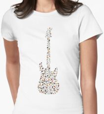 Guitar Silhouette Filled with Guitars Women's Fitted T-Shirt