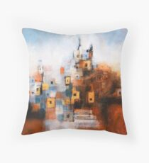 Church in Orange and Blue Throw Pillow