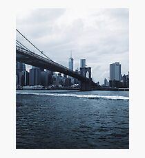Brooklyn Bridge - Blue Photographic Print