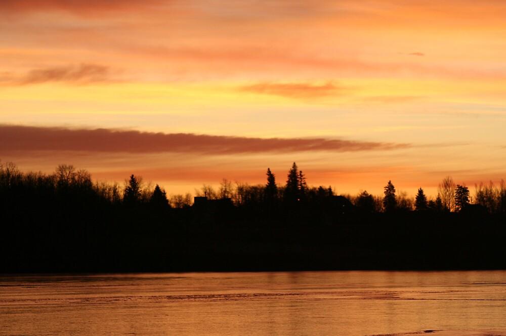 Sunrise over lake ice by Marilylle  Soveran