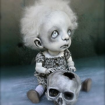 Creepy Little Girl with a Skull Gothic Art Doll by darkalleydolls