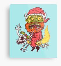 Monster Santa Metal Print