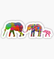 3 Colorful Elephants Holding Tails - Pop Art Sticker
