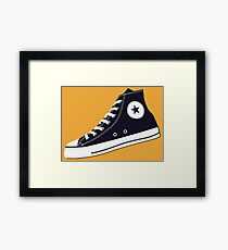 All Star Inspired Hi Top Retro Sneaker in Navy Blue Framed Print