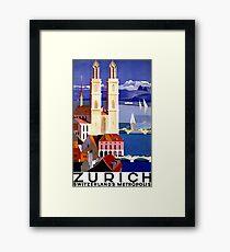 Zurich, Switzerland metropolis, vintage poster Framed Print