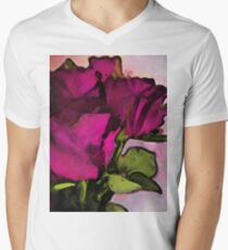 Pink Purple Roses and Green Leaves T-Shirt