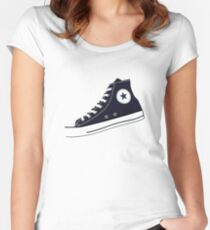 All Star Inspired Hi Top Retro Sneaker in Navy Blue Women's Fitted Scoop T-Shirt