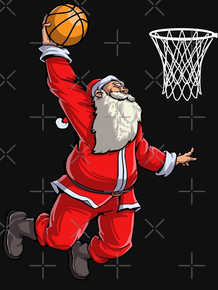 Basketball Santa Slam Dunk T Shirt Christmas Xmas Ball Sport by LiqueGifts