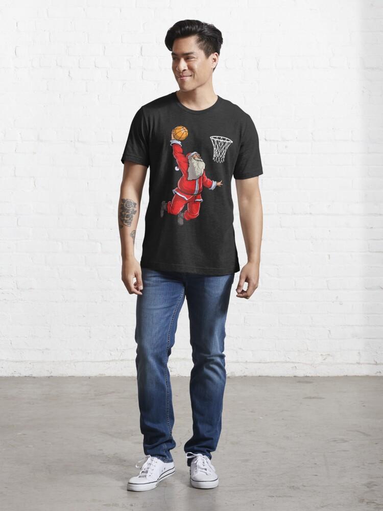 Alternate view of Basketball Santa Slam Dunk T Shirt Christmas Xmas Ball Sport Essential T-Shirt