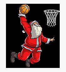 Basketball Santa Slam Dunk T Shirt Christmas Xmas Ball Sport Photographic Print
