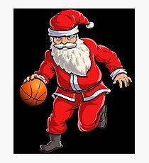 Basketball Santa Dribble T Shirt Christmas Xmas Ball Sport Photographic Print