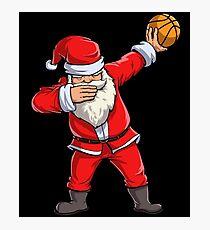 Dabbing Santa Basketball T Shirt Christmas Hat Ball Sport Photographic Print