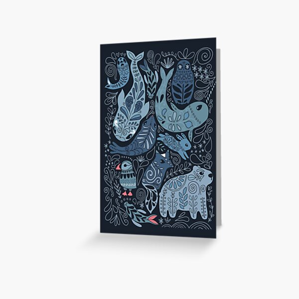 Arctic animals. Narwhal, polar bear, whale, puffin, owl, fox, bunny, seal. Greeting Card