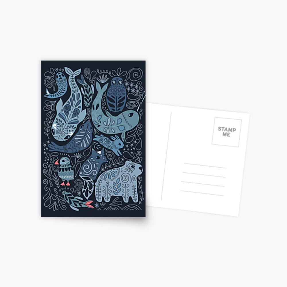 Arctic animals. Narwhal, polar bear, whale, puffin, owl, fox, bunny, seal. Postcard