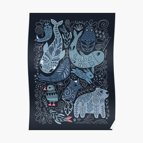 Arctic animals. Narwhal, polar bear, whale, puffin, owl, fox, bunny, seal. Poster