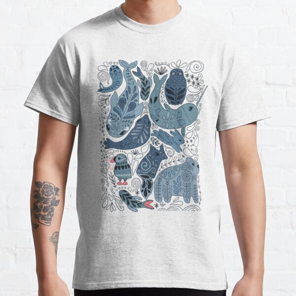 Arctic animals. Narwhal, polar bear, whale, puffin, owl, fox, bunny, seal. Classic T-Shirt